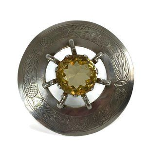 Mid Century Sterling Silver & Citrine Large Brooch